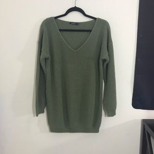 BOOHOO V-Neck Sweater Dress